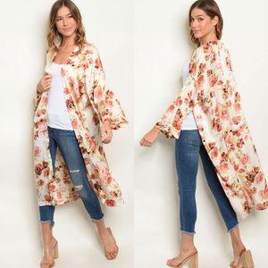 Cream Floral Print Kimono Duster (Medium)